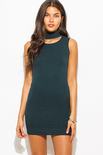 $25 - Cute cheap fitted bodycon sexy club mini dress - dark teal green ribbed knit turtleneck cut out fitted bodycon club mini dress