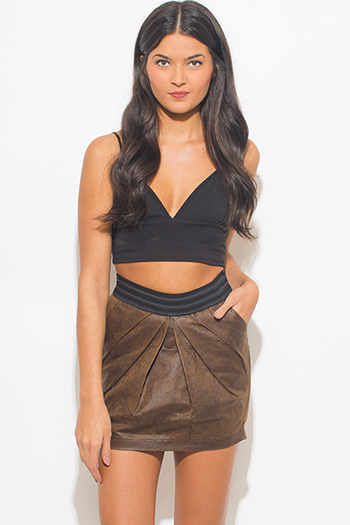 $10 - Cute cheap caramel brown faux leather ribbed bomber moto jacket - distressed mocha faux leather stripe banded waist pleated sexy club mini skirt