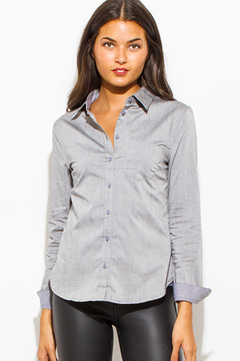 $10 - Cute cheap light blue washed denim quarter sleeve snap button up blouse top - dove gray pocketed checker sleeve contrast button up suiting blouse top