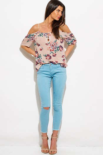 $20 - Cute cheap paisley print navy blue denim mid rise fitted skinny jeans - dusty blue denim mid rise ripped knee skinny fit ankle jeans