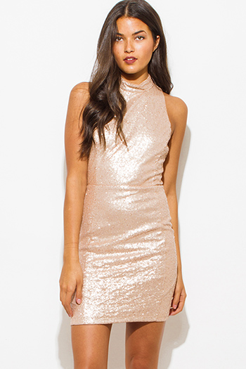$20 - Cute cheap ribbed lace fitted sexy party dress - dusty blush pink sequined mock neck racer back bodycon fitted pencil party mini dress