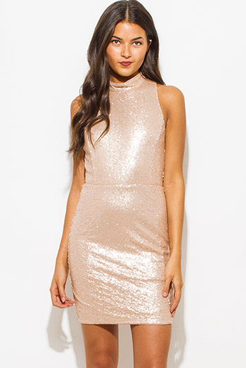 $25 - Cute cheap khaki open back dress - dusty blush pink sequined mock neck racer back bodycon fitted pencil sexy party mini dress