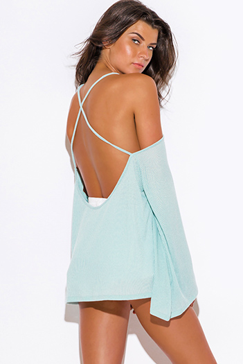 $9 - Cute cheap ribbed open back tunic - dusty mint green ribbed knit off shoulder backless kimono sleeve sweater boho tunic top