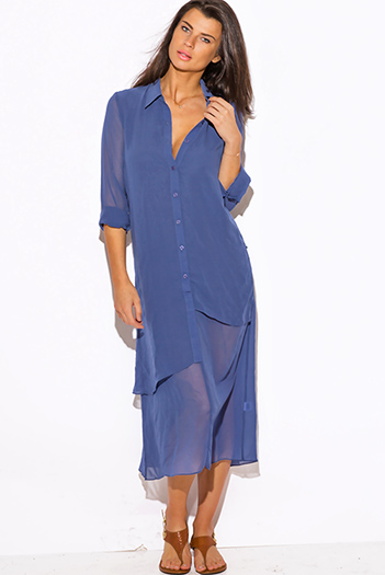 $20 - Cute cheap maxi dress - dusty navy blue chiffon boho maxi shirt dress