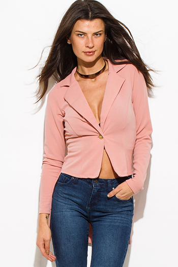 $20 - Cute cheap dusty pink golden button fitted long sleeve high low hem tuxedo blazer jacket