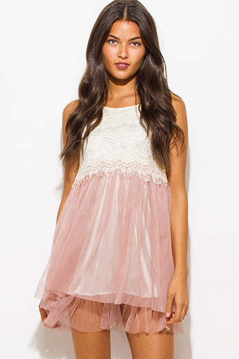$15 - Cute cheap leather sexy party mini dress - dusty pink lace overlay color block tiered tulle skirt cocktail party mini dress