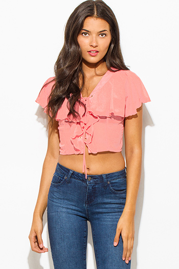$7 - Cute cheap coral mesh inset sexy party crop top - dusty pink semi sheer chiffon v neck ruffled tiered laceup boho party crop blouse top