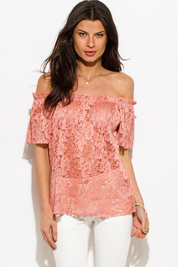 $15 - Cute cheap khaki blouse - dusty pink sheer see through lace off shoulder boho blouse top