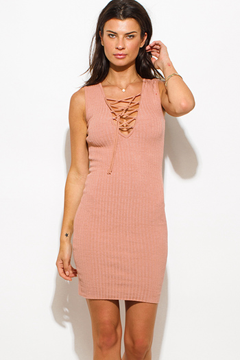 $25 - Cute cheap lace fitted party dress - dusty pink taupe ribbed  knit laceup sleeveless fitted bodycon sexy club sweater mini dress