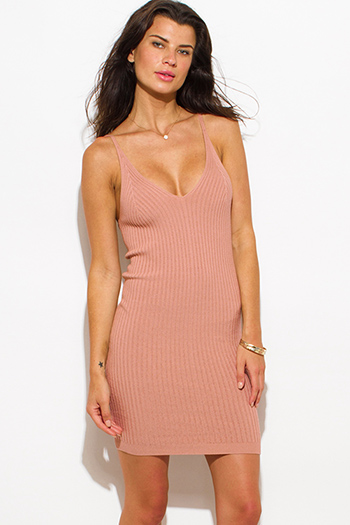 $20 - Cute cheap dusty pink taupe ribbed knit thin strap v neck open back fitted bodycon sweater midi dress