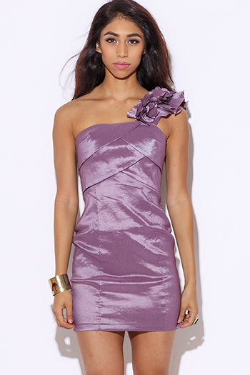 $10 - Cute cheap summer dress - dusty purple satin one shoulder ruffle fitted cocktail sexy party pencil mini dress