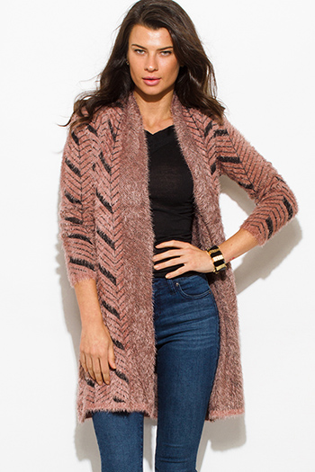 $20 - Cute cheap dusty rose pink chevron stripe knit textured open front long sleeve fuzzy boho duster cardigan top