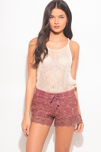 $15 - Cute cheap red lace fitted romper - dusty wine burgundy red lace waist tie boho lounge shorts