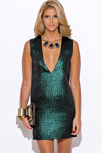 $10 - Cute cheap open back sexy party mini dress - green metallic v neck backless cocktail party shift mini dress