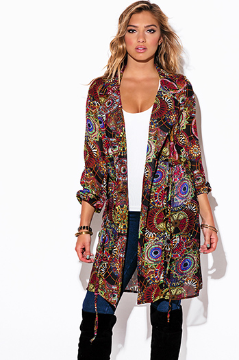 $20 - Cute cheap ethnic print chiffon blouson sleeve semi sheer double breasted trench coat dress