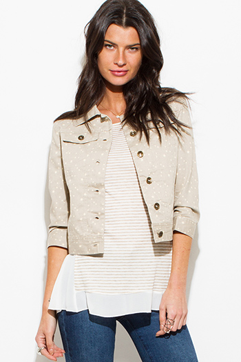$15 - Cute cheap beige shorts - faded beige star print denim quarter sleeve jacket