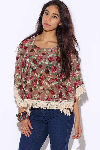 $15 - Cute cheap print chiffon top - floral print chiffon fringe boho top