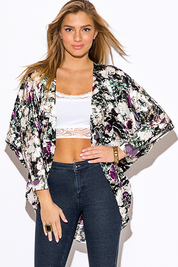 $20 - Cute cheap cheap clothes embroidered kimono sleeve boho tunic top - forest green abstract print dolman sleeve boho kimono cardigan jacket top