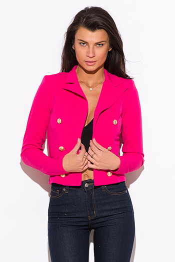 $15 - Cute cheap fuchsia hot pink golden button military style open blazer jacket