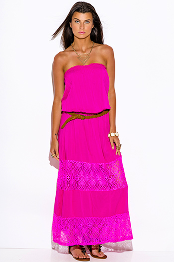 $25 - Cute cheap pink lace boho dress - fuchsia hot pink lace trim strapless drop waist summer boho maxi sun dress