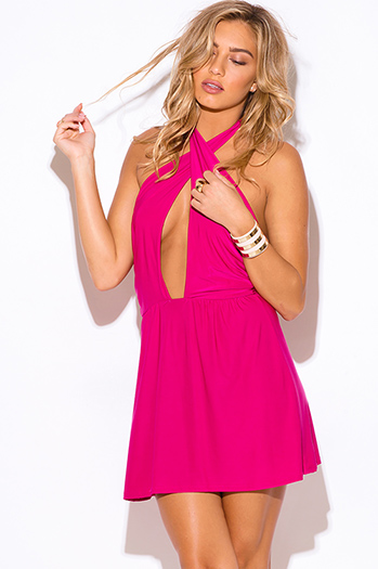$7 - Cute cheap trendy juniors orange halter sexy clubbing top - hot pink cut out wrap front halter a line clubbing mini dress