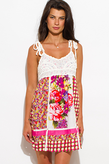 $15 - Cute cheap print backless boho dress - fuchsia pink cotton floral print crochet contrast boho mini sun dress