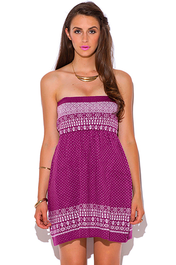 $5 - Cute cheap find sweater - berry pink ethnic print ribbed strapless boho a line sweater mini dress