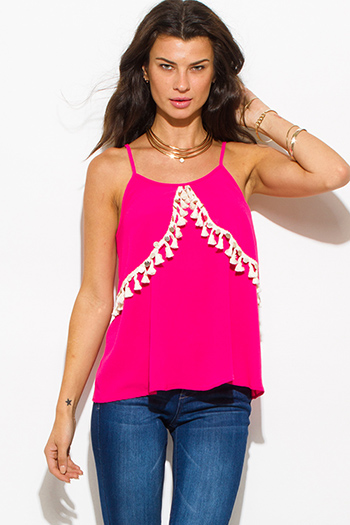 $15 - Cute cheap fucshia hot pink sequin tassel embellished spaghetti strap boho resort tank top