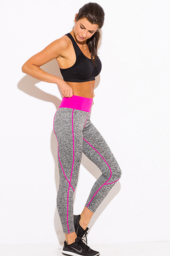 $10 - Cute cheap find pink - fuchsia pink banded gray yoga fitness capri leggings