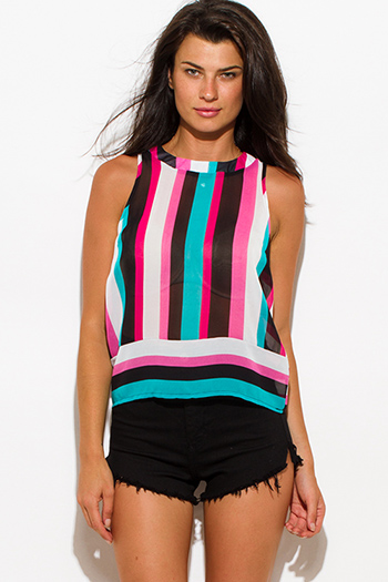 $8 - Cute cheap stripe sheer bodycon catsuit - fuschia pink black teal stripe sheer chiffon sleeveless blouse top