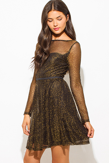 $20 - Cute cheap black long sleeve sexy club dress - gold black shimmery metallic fishnet mesh contrast long sleeve sweetheart boat neck a line cocktail party mini dress