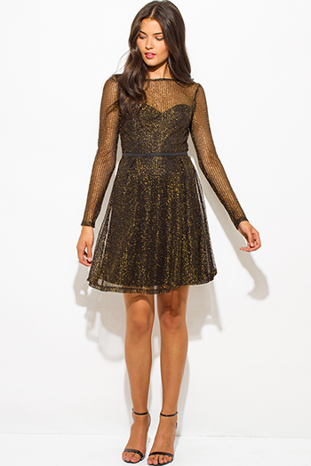 $20 - Cute cheap metallic bejeweled formal dress - gold black shimmery metallic fishnet mesh contrast long sleeve sweetheart boat neck a line cocktail sexy party mini dress