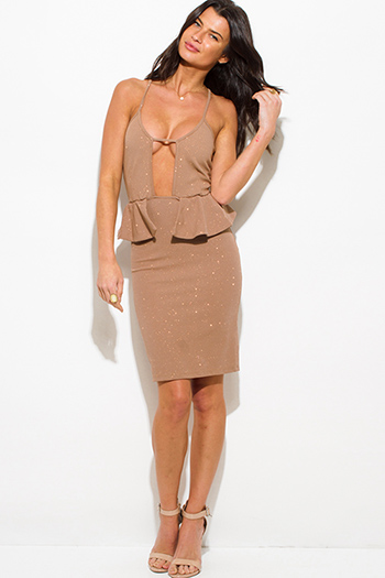 $10 - Cute cheap cut out cocktail dress - beige shimmer cut out sweetheart neck peplum pencil cocktail party metallic sexy club midi dress