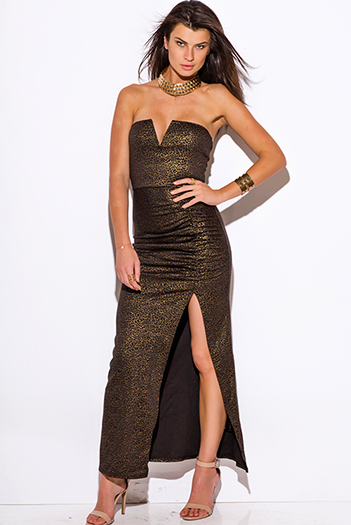 $15 - Cute cheap animal print dress - gold metallic animal print sweetheart v neck high slit strapless fitted formal evening cocktail sexy party maxi dress
