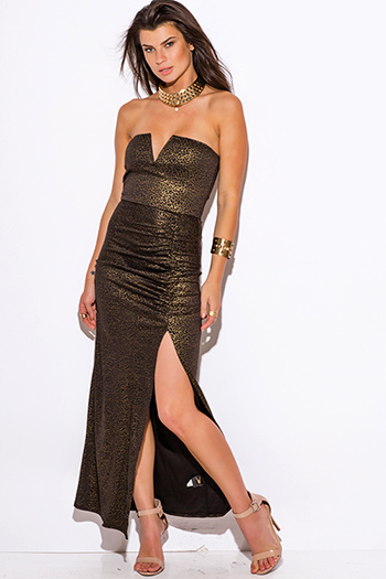$10 - Cute cheap maxi dress - gold metallic animal print sweetheart v neck high slit strapless fitted formal evening sexy party maxi dress