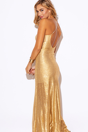 $45 - Cute cheap maxi dress - gold metallic bejeweled backless formal evening cocktail sexy party maxi dress