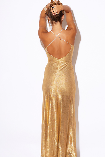 $25 - Cute cheap asymmetrical maxi dress - gold metallic bejeweled backless formal evening cocktail sexy party maxi dress
