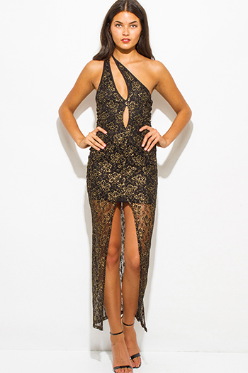 $15 - Cute cheap crepe slit wrap dress - gold metallic black lace cut out one shoulder high slit formal evening cocktail sexy party maxi dress