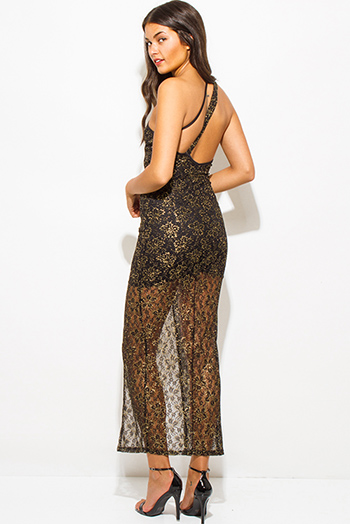 $25 - Cute cheap maxi dress - gold metallic black lace cut out one shoulder high slit formal evening cocktail sexy party maxi dress