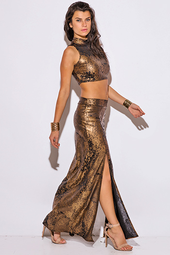 $30 - Cute cheap maxi dress - bronze gold metallic high neck double slit formal evening sexy party two piece set maxi dress