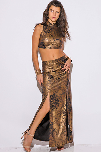 $15 - Cute cheap maxi dress - bronze gold metallic high neck double slit formal evening sexy party two piece set maxi dress