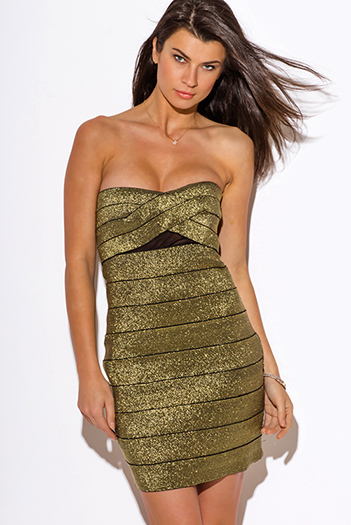 $20 - Cute cheap fitted dress - gold metallic mesh inset  sweetheart strapless fitted bodycon sexy club mini dress
