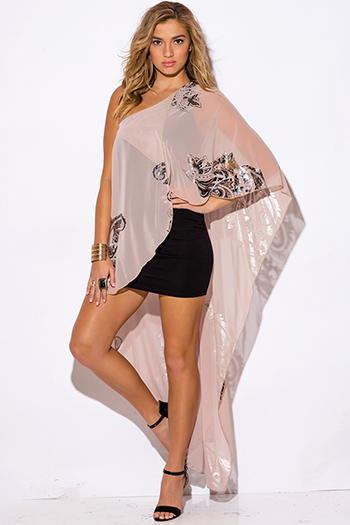 $30 - Cute cheap print cape sexy party dress - gold metallic print beige chiffon cape one shoulder cocktail party mini dress