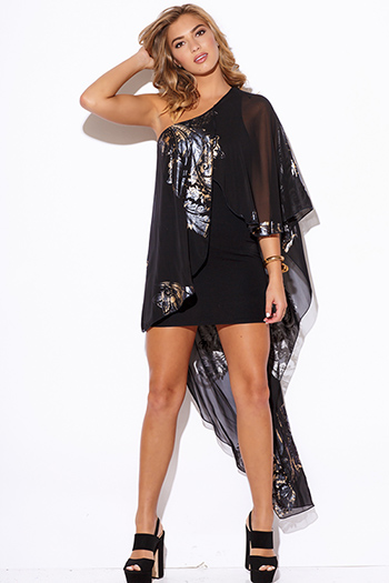 $30 - Cute cheap print fitted party mini dress - gold metallic print black chiffon cape one shoulder cocktail party sexy club mini dress