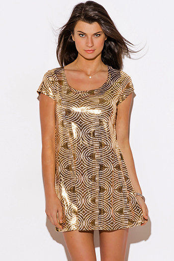 $10 - Cute cheap cute body central animal print ruched sexy clubbing dress for cheap - gold metallic print short sleeve clubbing tunic mini dress