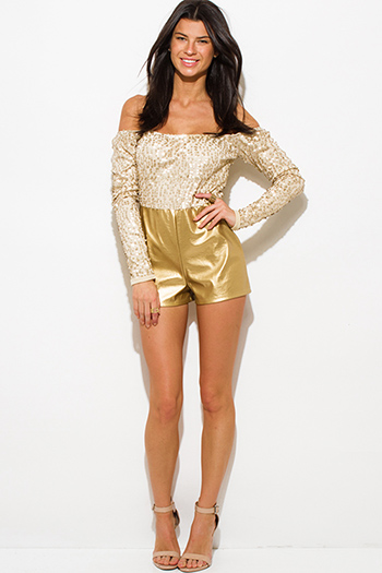 $15 - Cute cheap gold sequined off shoulder faux leather sexy clubbing romper jumpsuit