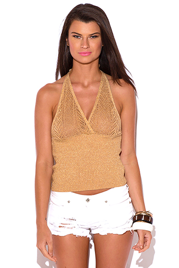 $5 - Cute cheap trendy juniors orange halter sexy clubbing top.html - gold metallic sweater knit semi see through halter clubbing top