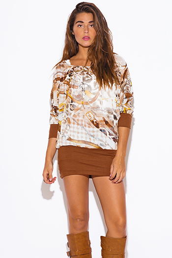 $7 - Cute cheap graphic print sheer top - graphic print semi sheer chiffon ribbed banded dolman sleeve tunic top