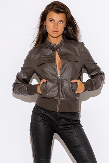 $25 - Cute cheap golden fox black faux leather wrap bracelet 82197 - gray faux leather ribbed zip up moto bomber jacket