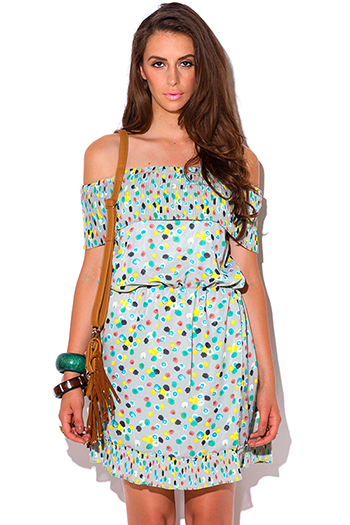 $5 - Cute cheap color coral dress - multi color polka dot print pleated off shoulder boho sun dress